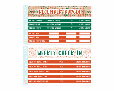 December Monthly Budget Sticker Kit