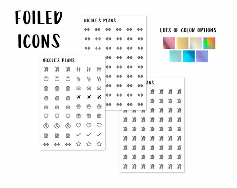 Foiled Icon Quarter Sheet Stickers