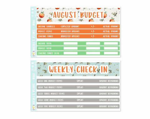 August Monthly Budget Sticker Kit