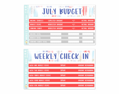 July Monthly Red White and Blue Budget Sticker Kit
