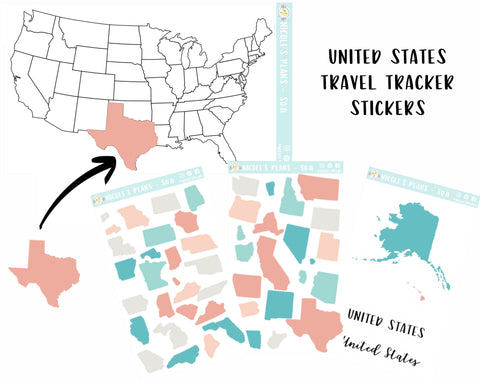 United States Visited Travel Tracker Stickers