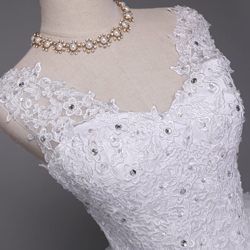 Embroidered Shoulder, Long Train, Lace Wedding Dress