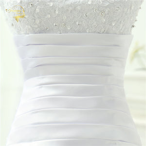Beaded ,Strapless, Beaded Bodice  Satin Wedding Dress