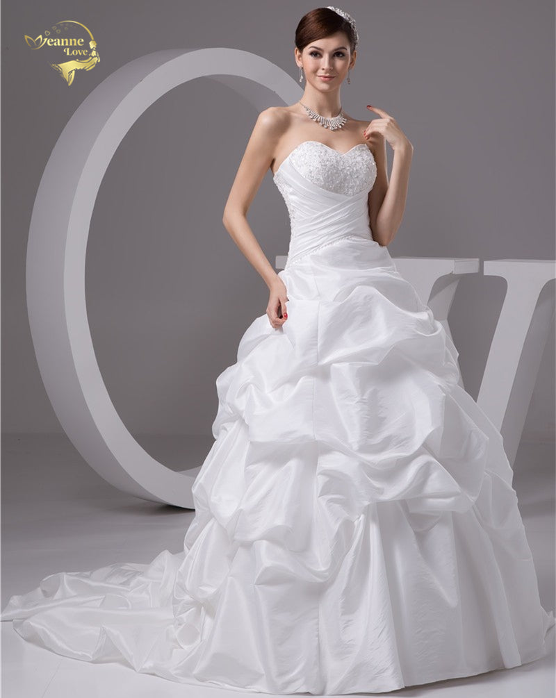 White / Ivory  A Line , Taffeta Applique, Ruched With Train Wedding Dress