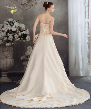 Champagne Sweetheart A Line Wedding Dress