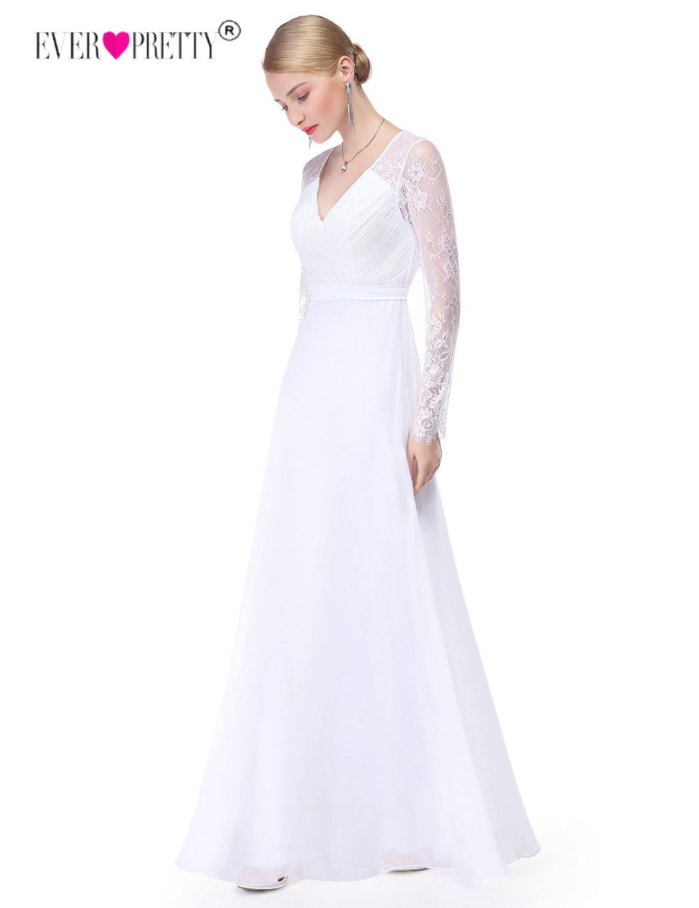 Lace Long Sleeved, V-Neck Wedding Dress