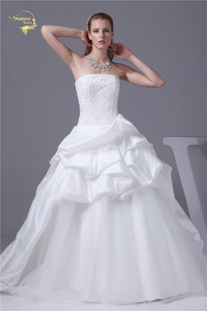 Taffeta  and Tulle  A Line Wedding Dress