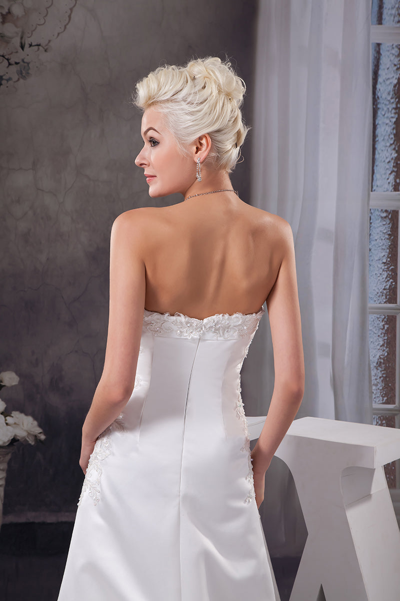 Strapless A-Line  Satin  Wedding Dress