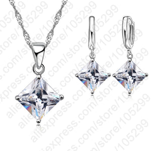 925 Sterling Silver Jewelry,  Cubic Zircon,  Geometry Pendant Jewelry Set