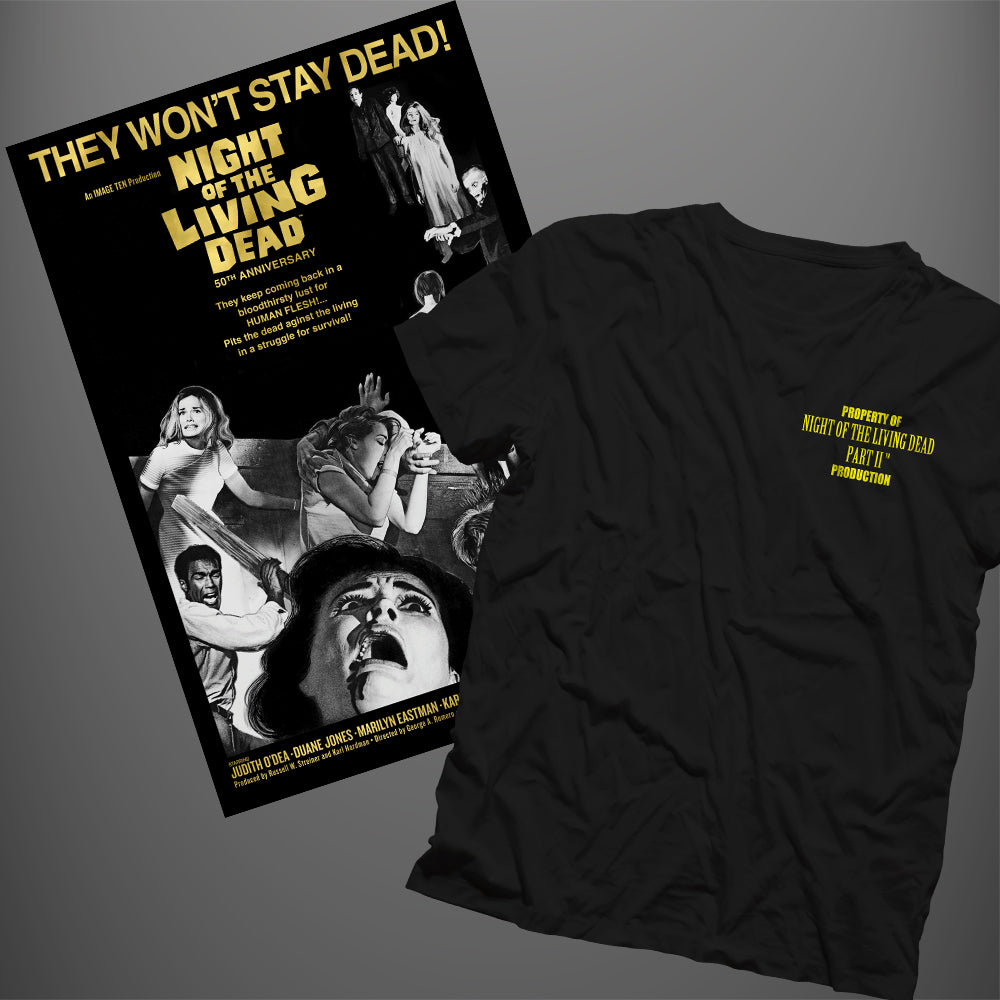 Night of the Living Dead Crew Bundle: T-shirt + Poster  **Lower Price at Checkout w/ Discount Code NTLD35**
