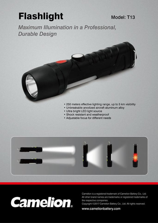 Camelion T13 5W CREE LED Flashlight, Work Light and Emergency Flasher