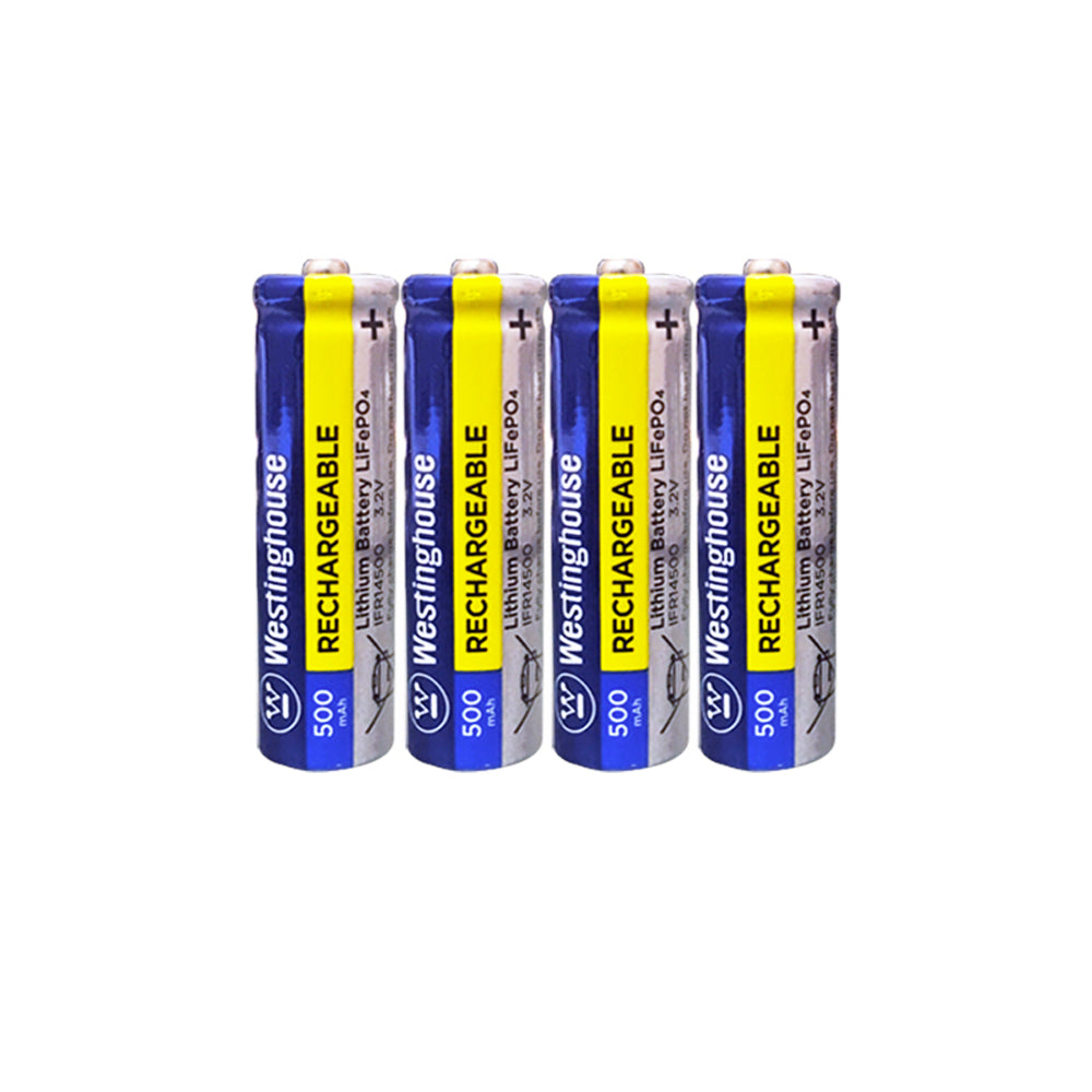 Westinghouse IFR14500 Lithium Phosphate Rechargeable Battery 500mAh Blister Pack of 4