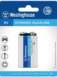 Westinghouse 9V Dynamo Alkaline Blister Pack of 1