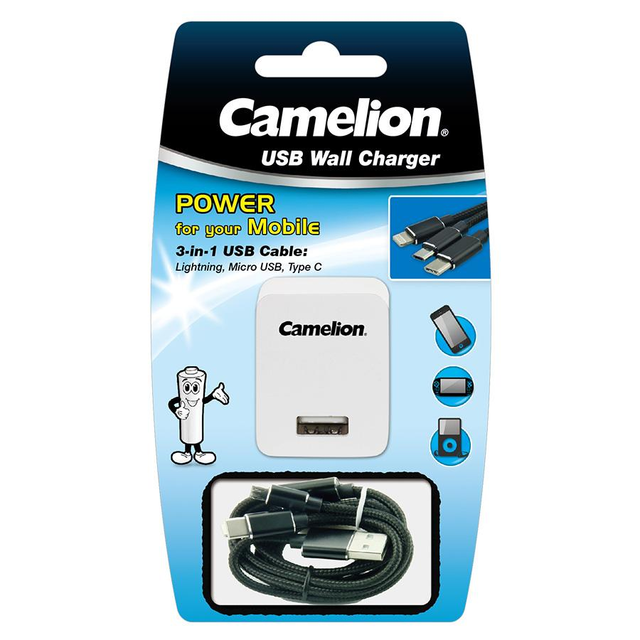 Camelion 3-in-1 Micro + Lightning + USB C cable with Wall Plug