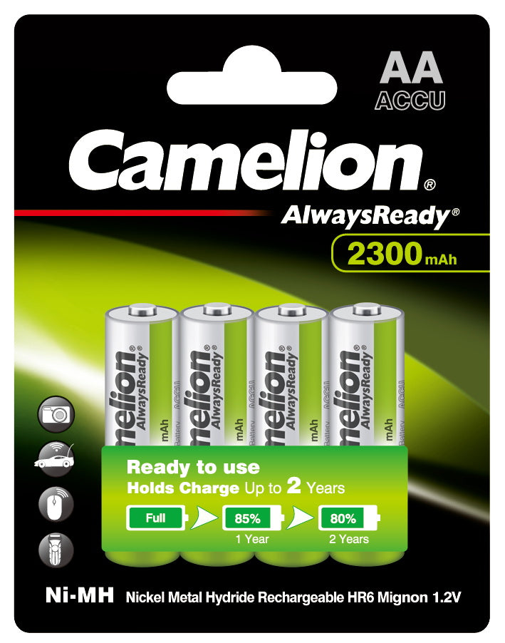 Camelion AA Always Ready 2300mAh Rechargeable Battery 4pk Blister