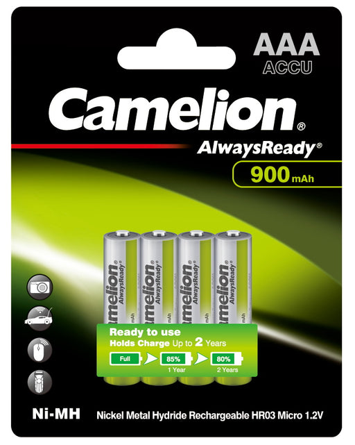 Camelion AAA Always Ready 900mAh Rechargeable Battery 4pk Blister