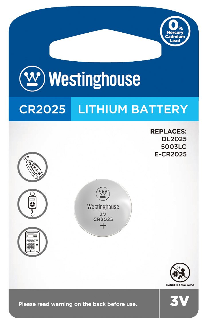 Westinghouse CR2025 3V Lithium Coin Cell Battery 1pk