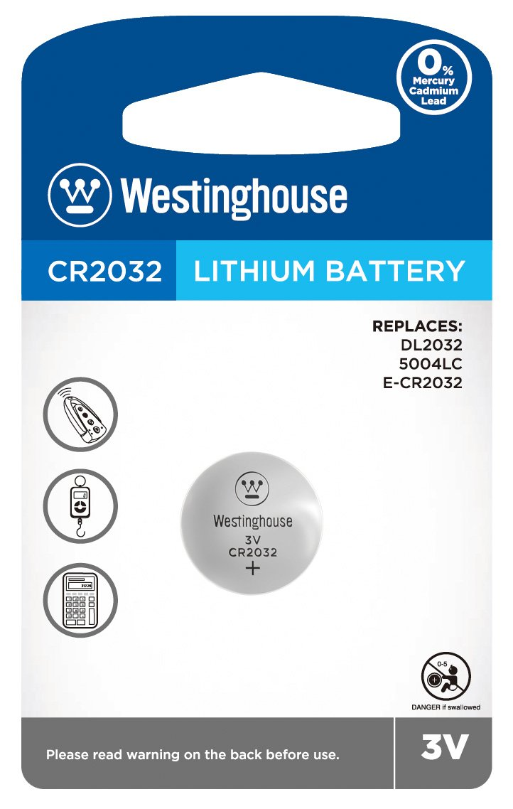 Westinghouse CR2032 3V Lithium Coin Cell Battery 1pk