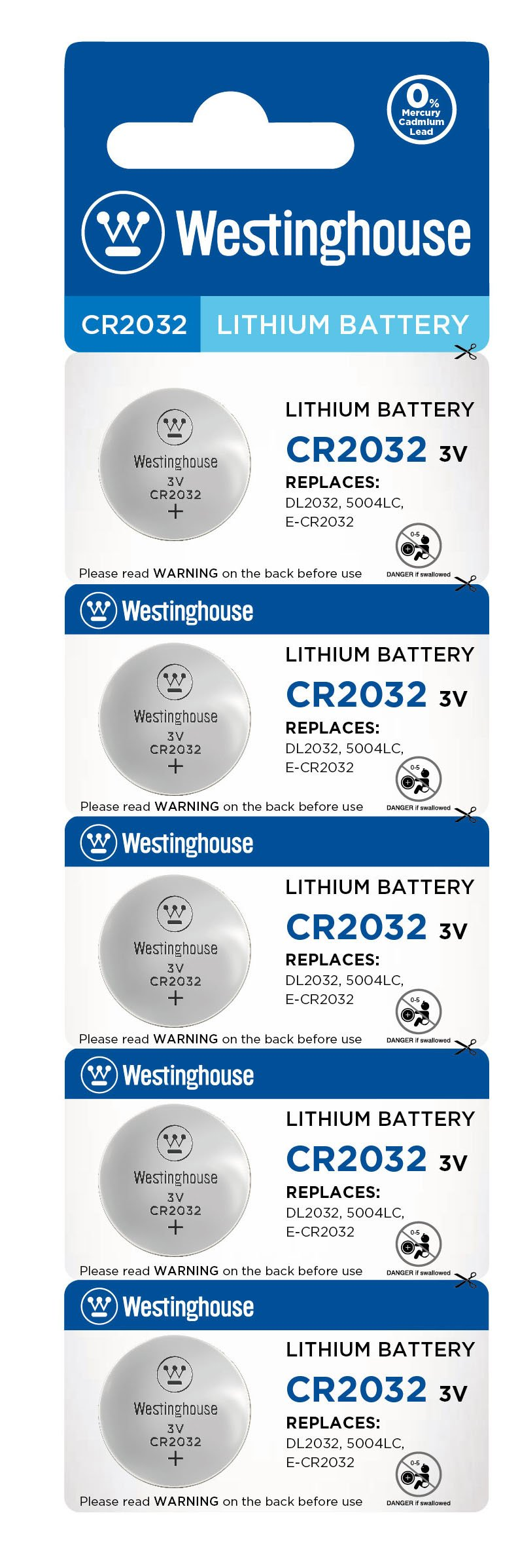 Westinghouse CR2032 3V Lithium Coin Cell Battery 5pk