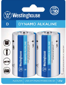 Westinghouse D Dynamo Alkaline Blister Pack of 2
