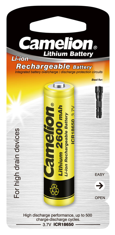Camelion Li-Ion 18650 3.7 Volt 2600 mAh Battery BP1