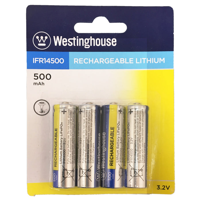 wholesale, wholesale batteries, westinghouse batteries, IFR14500, lithium phosphate batteries, rechargeable batteries, 500mAh