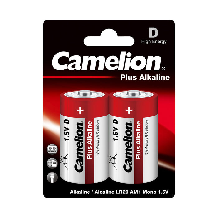 Camelion D Alkaline Plus Blister Pack of 2