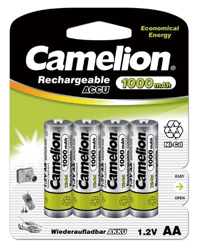 Camelion AA Ni-Cd Rechargeable Batteries 1000mAh Blister Pack of 4