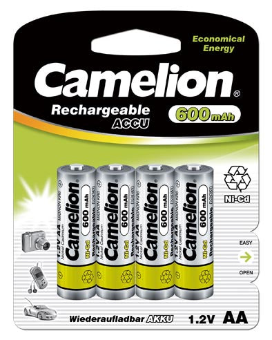 Camelion AA Ni-Cd Rechargeable Batteries 600mAh Blister Pack of 4