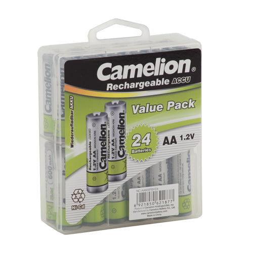 Camelion AA Ni-Cd Rechargeable Batteries 600mAh Hard Plastic Case of 24