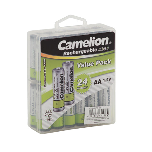 Camelion AA Ni-Cd Rechargeable Batteries 800mAh Hard Plastic Case of 24