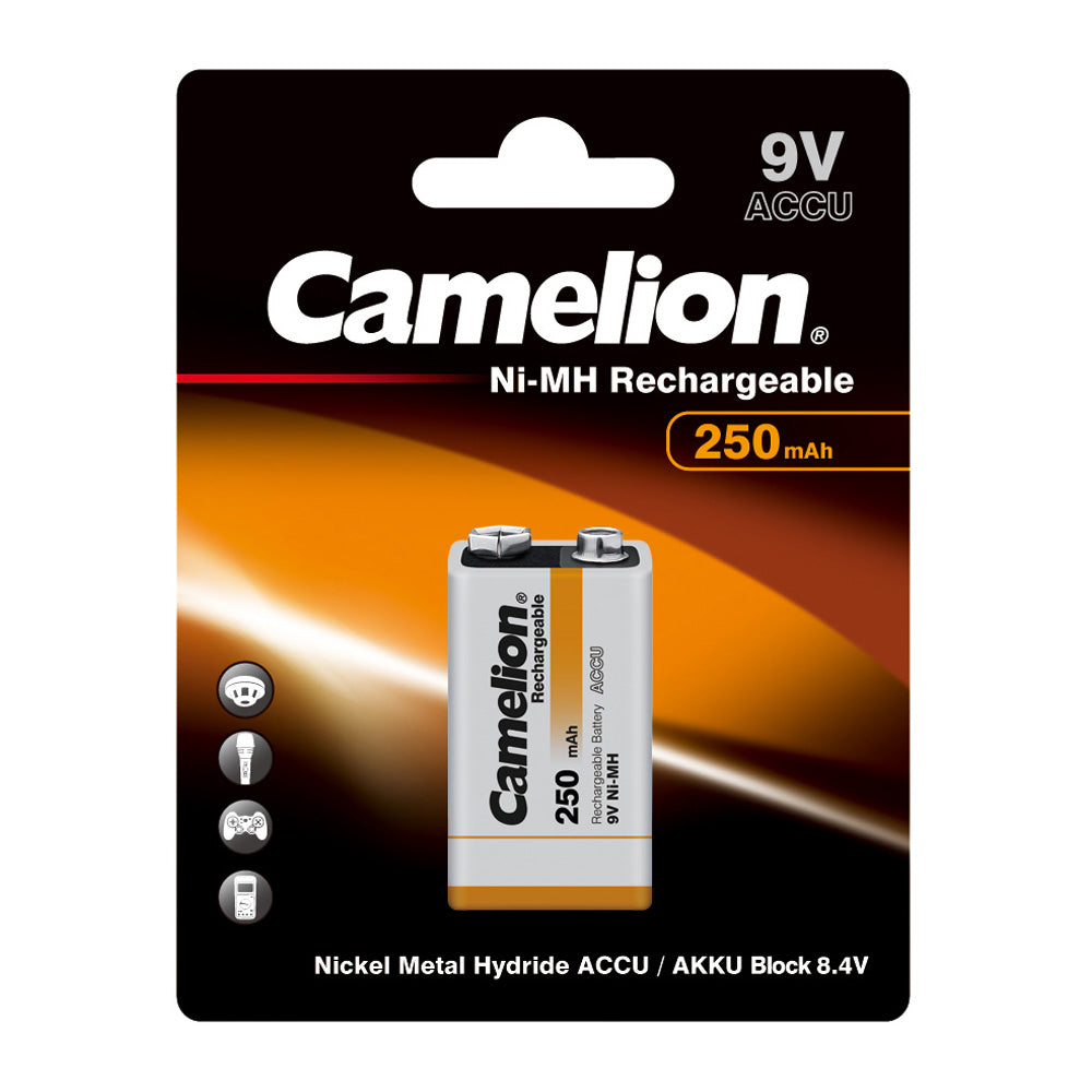 9Volt Ni-MH Rechargeable Battery 250mAh 1 Pack