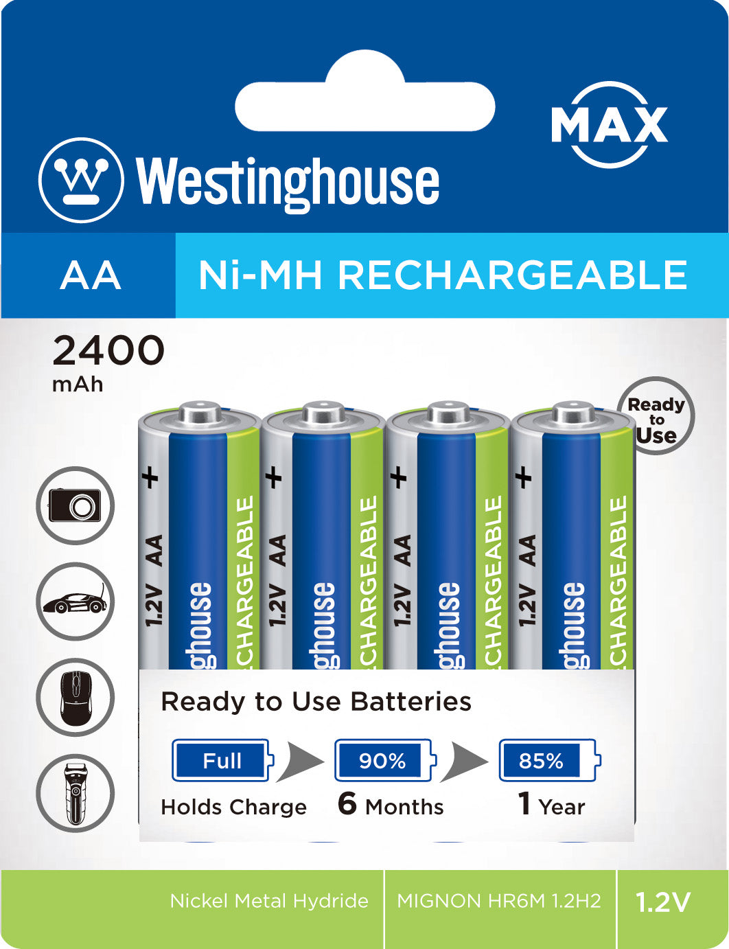 Westinghouse Always Ready AA Ni-Mh 2400mah Rechargeable Battery 4pk