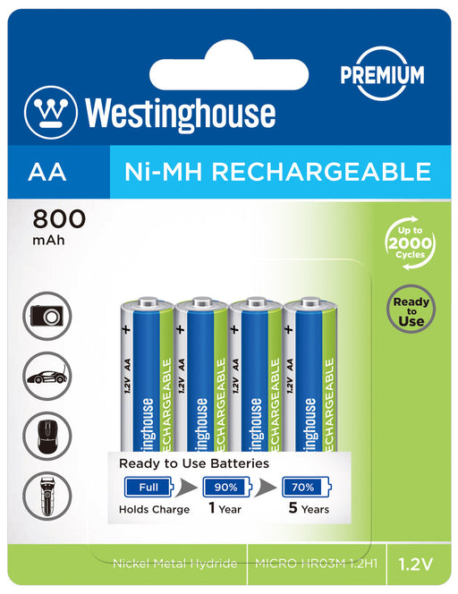 Westinghouse AA Ni-Mh Rechargeable Batteries 800 Blister Pack of 4