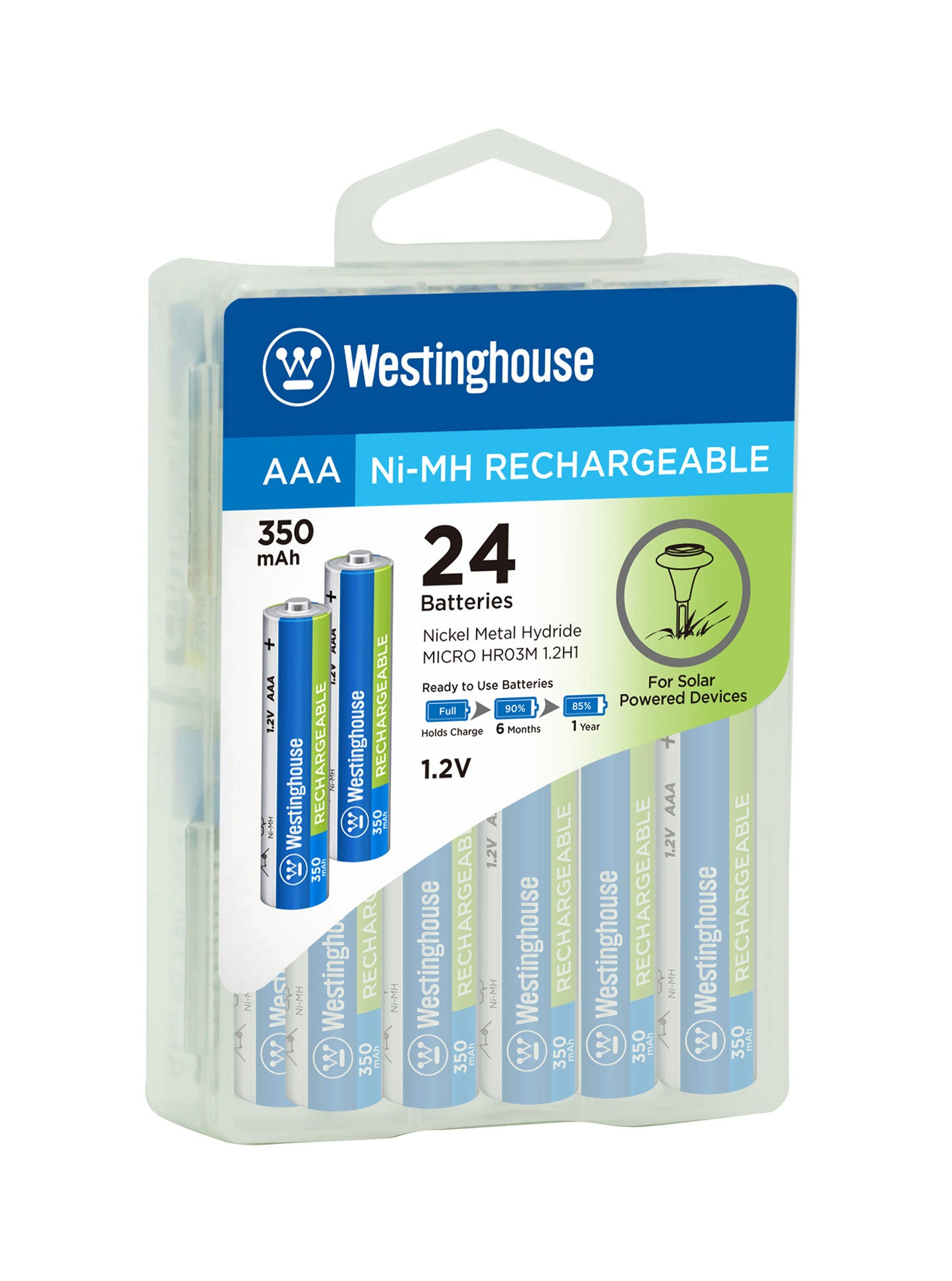 Westinghouse AAA Ni-Mh Rechargeable Batteries 350mAh 24 Hard Pack