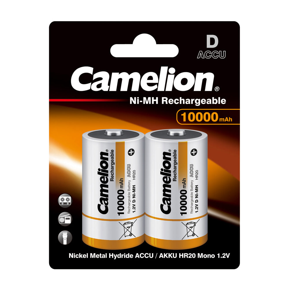 D Ni-MH 10,000mAh Rechargeable batteries 2 Pack