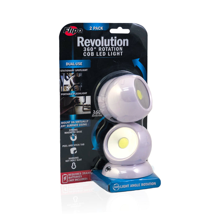 Revolution - 360 Rotation COB LED Light 2 Pack