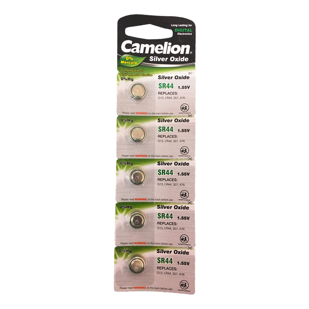 Camelion Silver Oxide SR44 / AG13 / 357 / LR44 1.55V Button Battery 5pk
