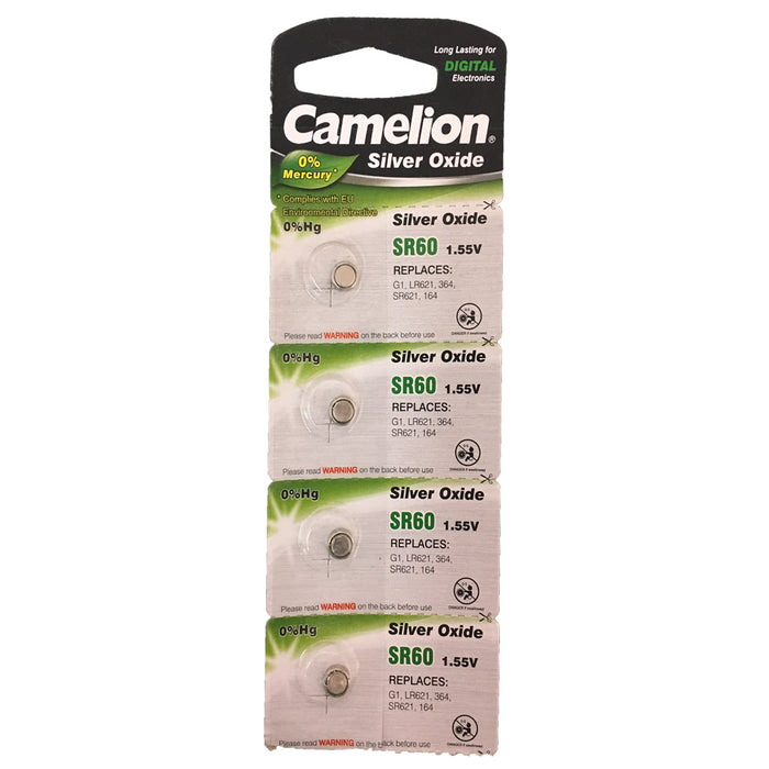 Camelion Silver Oxide SR60 / AG1 / 364 / LR621 1.55V Button Battery 5pk