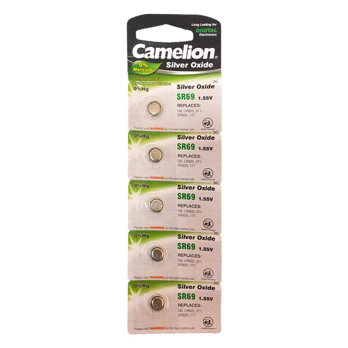 Camelion Silver Oxide SR69 / AG6 / 371 / LR920 1.55V Button Battery 5pk