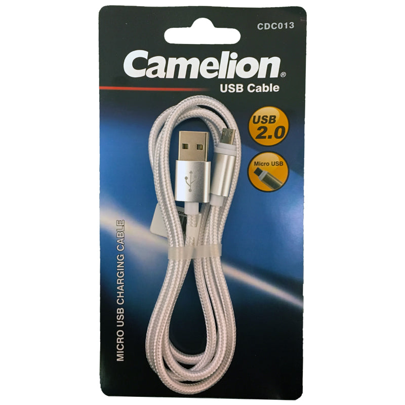 Nylon Silver 3FT  Micro USB Charging Cord Blister Pack