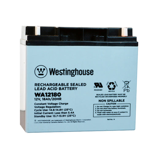 wholesale, wholesale batteries, westinghouse WA12180, 12V 18Ah, F3 terminal, sla, sealed lead acid