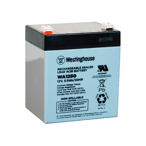 wholesale, wholesale batteries, sla, sealed lead acid, westinghouse WA1250, 12V 5ah, F1 terminal