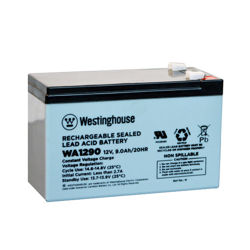wholesale, wholesale batteries, sla, sealed lead acid, westinghouse WA1290, 12V 9Ah, F2 terminal