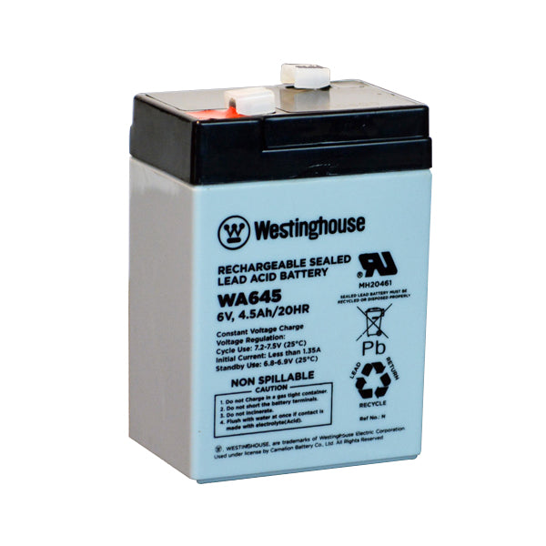 wholesale, wholesale batteries, sla, sealed lead acid, WA645, 6V 4.5Ah, F1 terminal