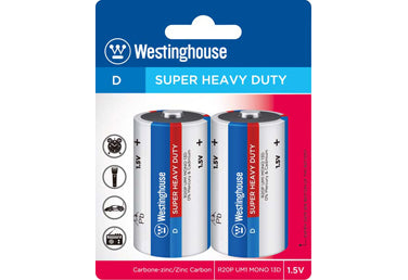 Westinghouse D Super Heavy Duty Batteries 4pk