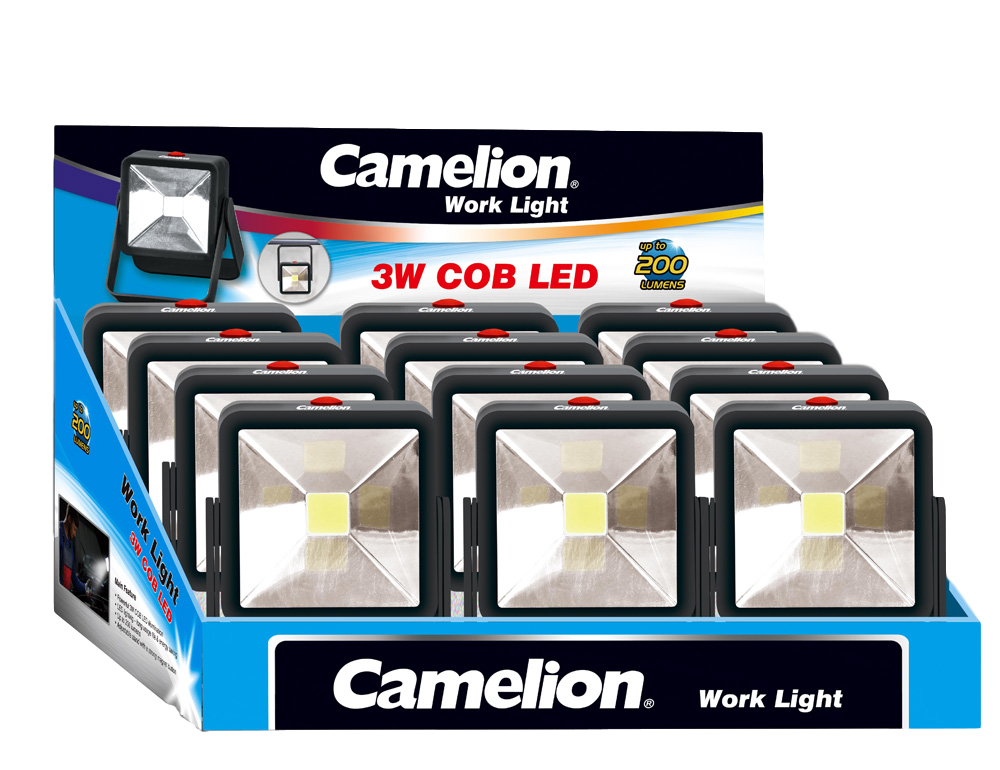 Camelion COB LED Worklight w/ Adjustable Stand Display of 12