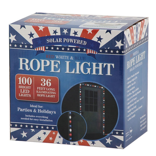 100 LED, Solar Rope Light, rope light, light decor, indoor decor, outdoor decor, holiday decor, red white blue, patriotic, 4th of july, presidents day, USA, solar powered lighting, party lights, holiday lights, wholesale, wholesale lighting
