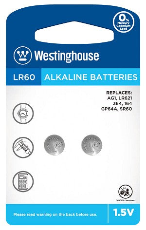 Westinghouse AG1 / 364 / LR621 1.5V Button Cell Battery