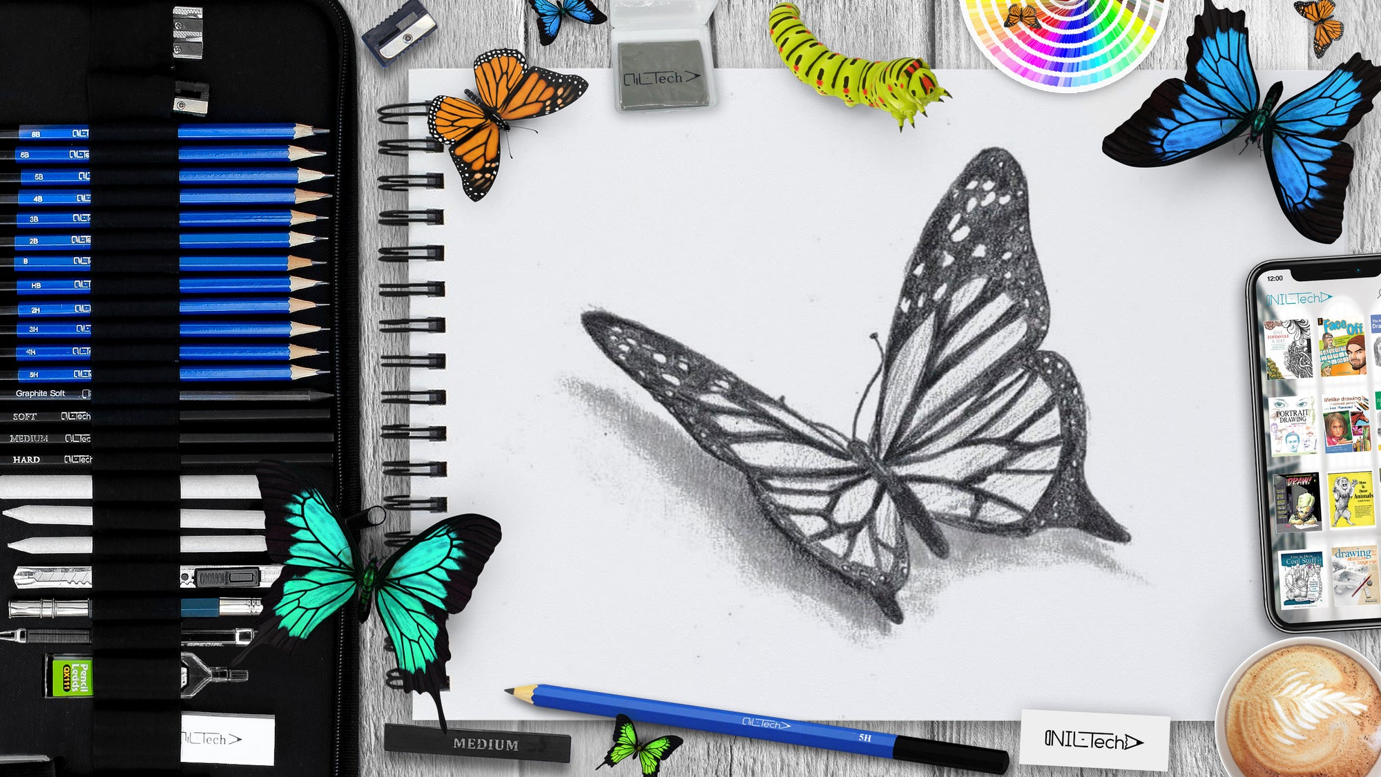 easy draw butterfly step by step